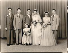 Eldon and Diana Olstad wedding 1950s with brothers and sisters and grooms man and brides maid.
